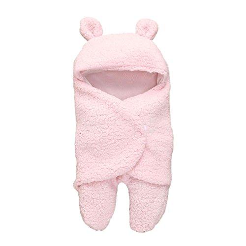 OVERDOSE Neugeborenes Schlafsack Decke, Neugeborenes Baby Jungen Mädchen Swaddle Baby Faux Kaschmir süßer Bär Schlafsack Decke Fotografie Prop (B-Pink, 55 * 29cm)
