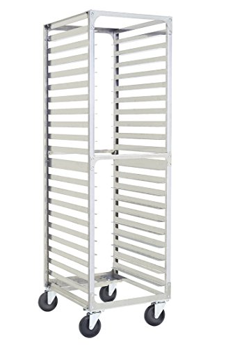 SHOPCraft 20 Pan 3' Spacing Commercial Grade Aluminium Bun Racks, Heavy Duty Sheet Baking Pan Rack For Bakery, Restaurant & Catering, 20 Tier 20.5' x 26' x 70' Rack With Heavy Duty Plate Casters And Non-Marking Polyolefin Wheels