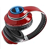 Wsaman Headhpones Ligeros Plegables con Hi-Fi Cascos Inalambricos Bluetooth 5.0 Auriculares para PC/Teléfonos Celulares/TV Auriculares De Estudio,Rojo