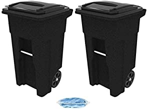 Toter 025532-R1209 Residential Heavy Duty Two Wheeled Trash Can with Attached Lid, 32-Gallon, Blackstone - 2 Cart