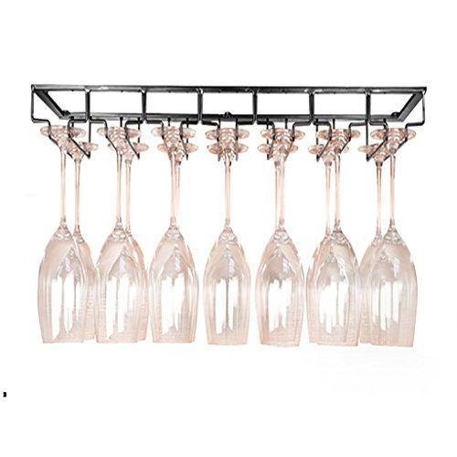 Colgante del estante de la copa de vino rojo, tenedor de cristal adornado restaurante retro casero casero de la barra, L70 * W22.5 Cm (Color : Black)