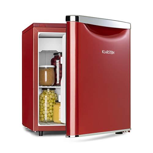 Klarstein Yummy - Kühlschrank, mit Gefrierfach, Energieeffizienzklasse A+, Kühlmittel: R600a, 41 dB, 1 x Gitterboden, inkl. Tropfschale, 47 L, Gefrierfach: 3 Liter, Kühlschrank: 44 L, rot