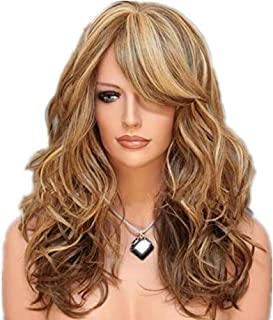 Blond Big Wavy With Bangs long Wigs For Women Natural as Real Hair-h132