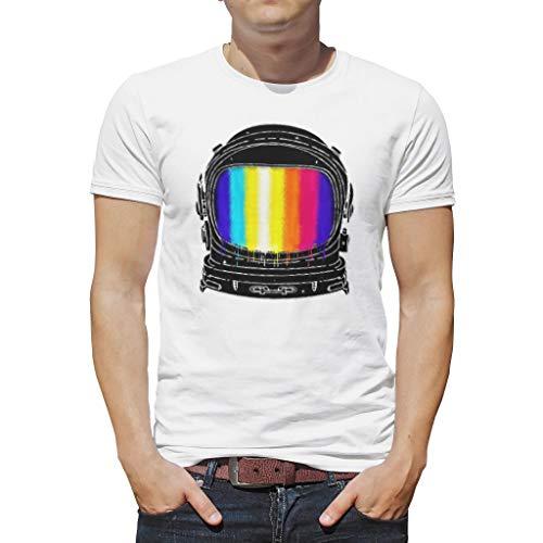 Camiseta de manga corta para hombre, diseño de astronautas y arcoíris blanco M