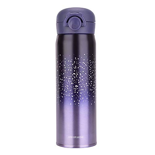 Water Bottle Thermoses Starry Sky, Thermal Vacuum Cups for Hot and Cold Drinks, BPA Free Stainless Steel Insulated Leak-proof Flask for Boys and Girls School Kids Indoor Outdoor Sports(17 oz Purple)