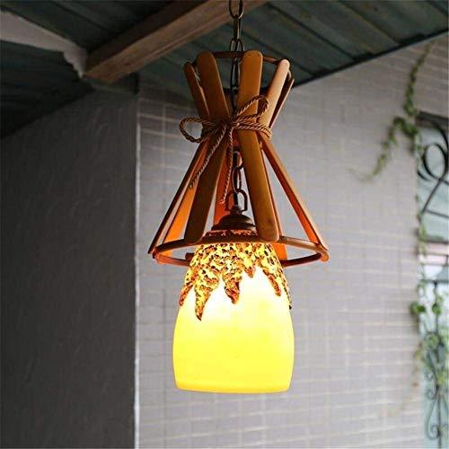 LJWJ Lámpara Candelabros Lámparas de Techo, Iluminación Interior Candelabro Dormitorio Moderno Sala de Estar Comedor Pasillo Resina Pintada a Mano Lámpara de Techo Amarilla de Bambú Candelabro