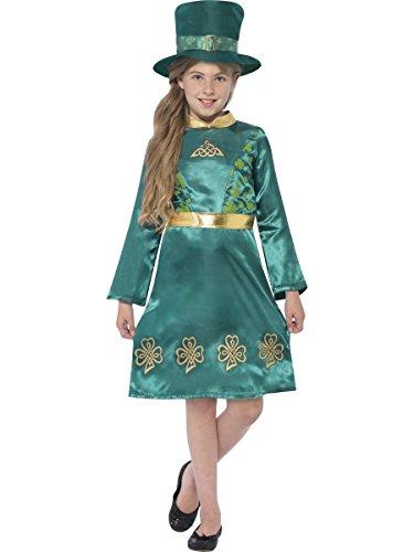 Smiffys Costume lutin pour fille, Vert, avec robe et chapeau