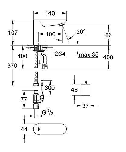 Grohe 36271000 Grifo de Lavabo Infrarrojo Electrónico, Cromo (Chrome)