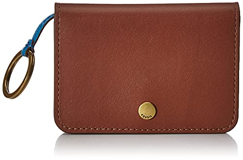 Fossil Women's Valerie Leather Wallet Slim Minimalist Flap Card Case with Keychain, Brown