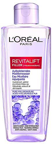 L'Oréal Paris Aufpolsterndes Hyaluron Mizellenwasser, Anti Aging Gesichtsreinigung, Reinigung mit purer Hyaluronsäure, Make up Entferner, Revitalift Filler, 200 ml