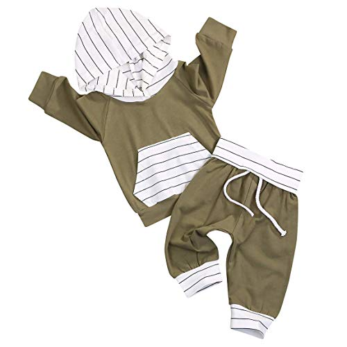 Newborn Toddler Baby Boy Outfit Long Sleeve Striped Hoodie Sweatshirt Tops Pants Sweatsuit Clothes Set (Green, 9-12 Months)