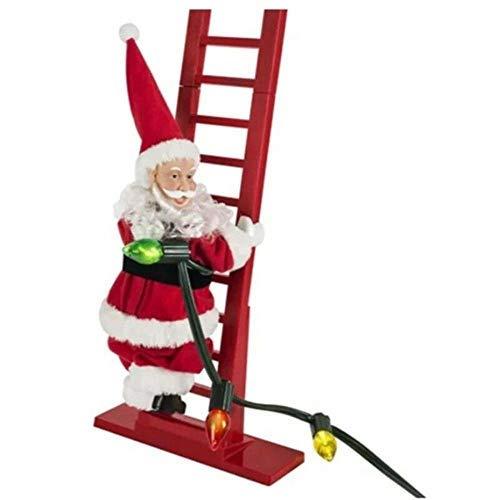 HHYSPA Elektrischer Weihnachtsmann Kletterleiter Puppe, Musik, Weihnachten, kreatives Dekor, Weihnachten, super kletternder Weihnachtsmann, Feiertagsdekoration, Party-Dekoration