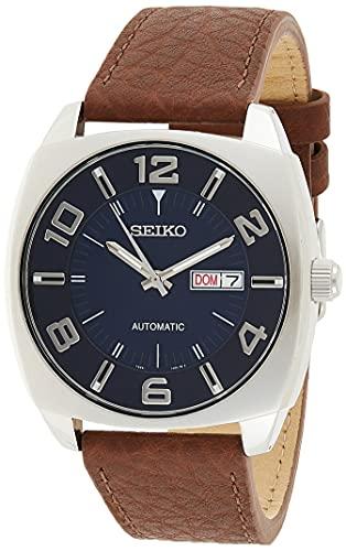 Relógio masculino Seiko SNKN37 de aço inoxidável, automático, com pulseira de couro marrom