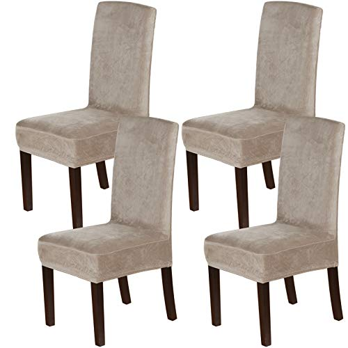 H.VERSAILTEX Velvet Dining Chair Covers Stretch Chair Covers for Dining Room Set of 4 Parson Chair Slipcovers Chair Protectors Covers Dining, Soft Thick Solid Velvet Fabric Washable, Taupe