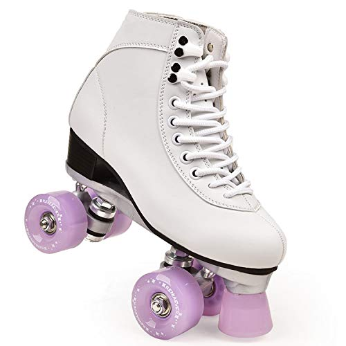 Women's Classic Retro 4 Wheels Quad Roller Skates Skate Series Lake Green Wheels-Lavender-4