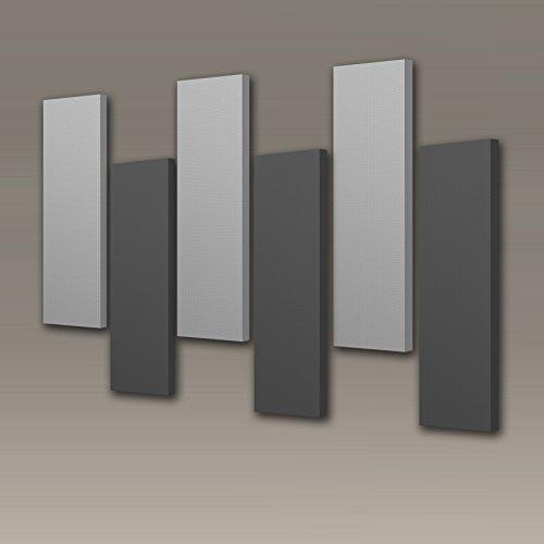 "Acoustimac DMD Stagger Acoustic Panel Design Pack: 6 Pcs 6)3'x1'x2"" 3-gray & 3-charcoal"