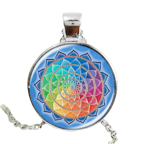 Moda henna yoga collares joyería om símbolo budismo zen vidrio hecho a mano flor mandala loto collar y colgante