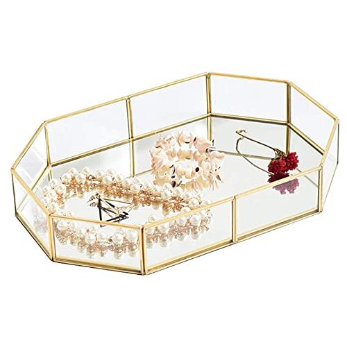 Bandeja de Cristal Dorado con Espejo, Cajas Para Joyas de Vidrio,Bandeja Decorativa de Metal Poligonal Para Joyas, Para el Maquillaje/la JoyeríA/el Té/el Postre