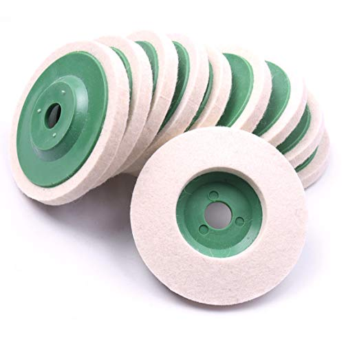 ATOPLEE 10pcs 3.86'' 98mm Wool Polishing Buffing Wheel Pad for Angle Grinder Rotary Tool Abrasive Grinding