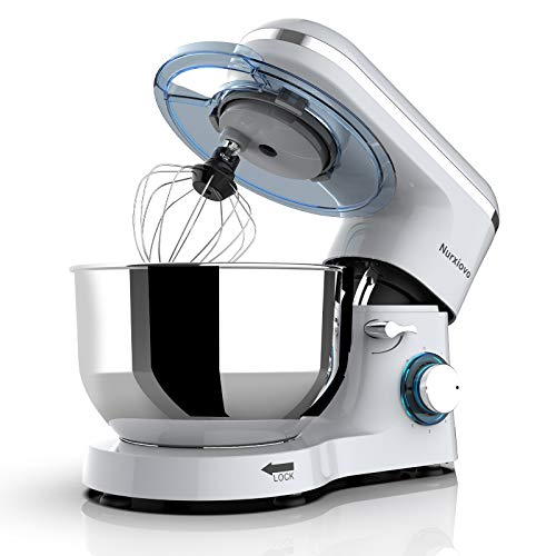 Nurxiovo 6.5QT Stand Mixer 660W Electric Kitchen Mixer 6-Speed Tilt-Head Food Mixer with Dough Hook Whisk Beater Stainless Steel Bowl, Sliver