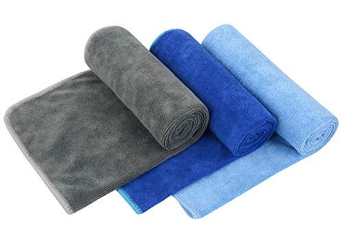 VIVOTE Toallas de Microfibra para Gimnasia Deportes Fitness Workout Sweat Towel Super Absorbent 3 Pack 35x75 CM (Gris + Azul Oscuro + Azul Claro)