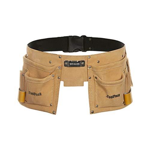 Toolpack 68112366020 Werkzeuggürtel Hobby mit 2 Taschen, Leder, mehrfarbig
