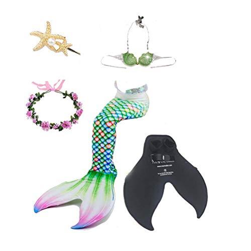 Traje De Baño para Niñas Traje De Baño Sirena, Traje De Cola De Sirena En Bikini, Traje De Baño De Sirena para Niños De Princesa, Adecuado para Playa/Piscina/Fiesta