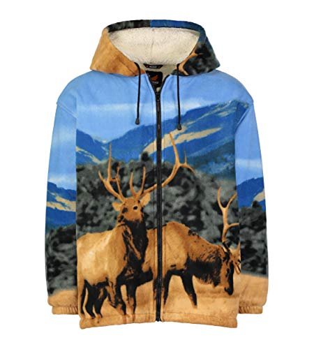Men Women's Hoodie Sweatshirt Zip up Sherpa Lined Fleece Elk Jacket Wildkind