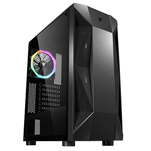 Itek THE ROCK EVO - Case PC Gaming Middle Tower ATX, 1 Ventole da 12 cm ARGB in dotazione, 2xUSB3.2 - frontale ABS e mesh, pannello laterale in vetro temperato, nero