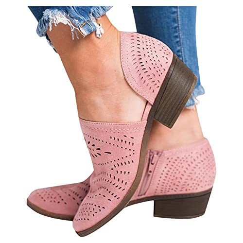 LIANGJIANG Winter Boots for Women, 2021 Women Single Casual Shoes Hollow-out Low Heel Cutout Booties Zipper Ankle Boots A-Pink 10