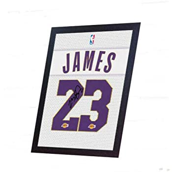 Lebron James LALakers basket signed t-shirt NBA Jersey Canvas 100/%cotton Framed