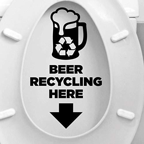 HNXDP Kreatives Design Bier Recycling Hier Zitate Toilettensitz Aufkleber Vinyl Wohnkultur Bad WC Text Aufkleber Wasserdicht Wandbilder 17x29 cm