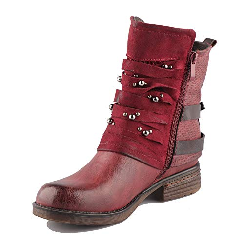 LALA IKAI Women Motorcycle Boots Ankle Combat Boots with Studded Low Block Heels Biker Shoes Red Wine