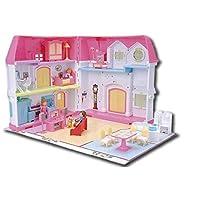 おもちゃミニチュアドールハウスキットプラスチックドールハウスプレイハウスセット家具ピンクまたは誕生日プレゼント女性と女の子のためのギフト