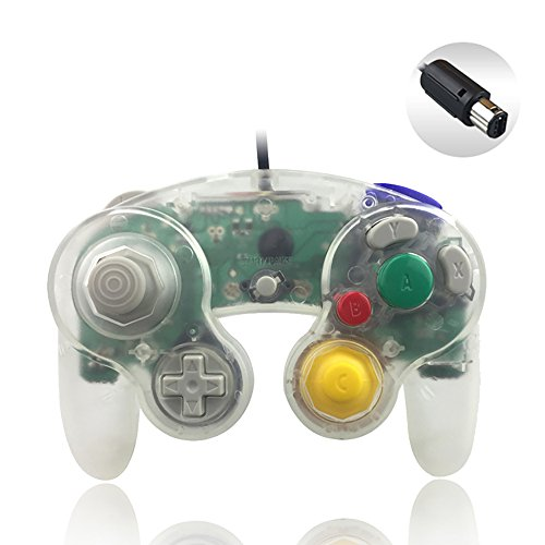 Reiso 1 Packs NGC Controllers Classic Wired Controller for Wii Gamecube (Clear White)