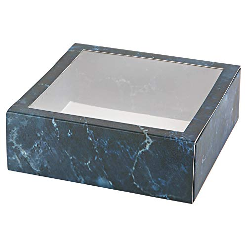 """Hammont Clear Window Gift Boxes - 6 Pack - Square Shaped Bakery Boxes with Clear PVC Sleeve   Treat Boxes Perfect for Cakes, Pastries, Cookies, Cupcakes, and Party Favors (Blue, 6"""" x 6"""" x 2"""")"""