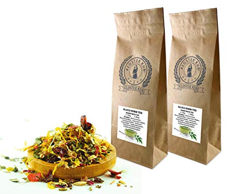 Gluco-Norm Kräuter Tee 2x300g von KLOSTER KUR mit Brennessel Olivenblätter Hagebutte Löwenzahn