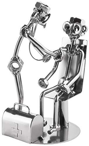 BRUBAKER Screw Man Doctor with Patient Stethoscope - Figura de Hierro Hecha a Mano Hombre de Metal - Figura de Metal Idea de Regalo para Médicos Generales - Regalo para Médicos
