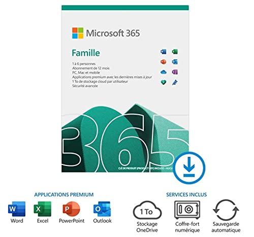 Microsoft 365 Famille | jusqu'à 6 utilisateurs | 2020 | 1 appareil | 1 an | PC/MAC/Chromebook | Téléchargement