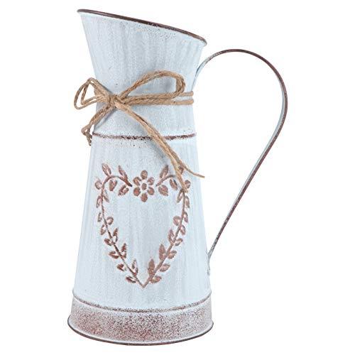 Yardwe Vaso da Fiori Shabby Chic Rustico Rustico Brocca Portafiori Vaso da Fiori in Metallo Zincato Vaso da Fiori in Ferro Secchio Decorativo