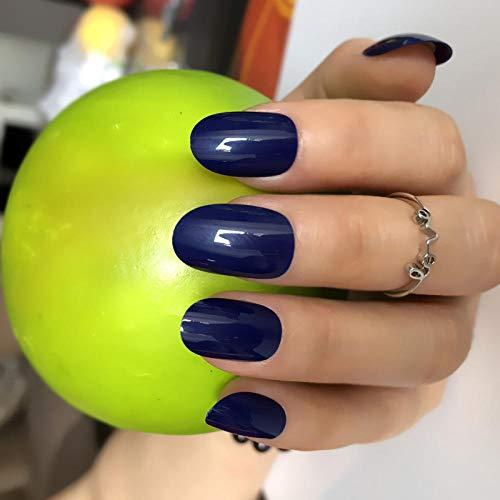 24 Pcs Bleu Foncé Manucure Outil De Bricolage Ovale Faux Ongles Briller Moyen En Plastique Nail Art Conseils Brillant Faux Ongles