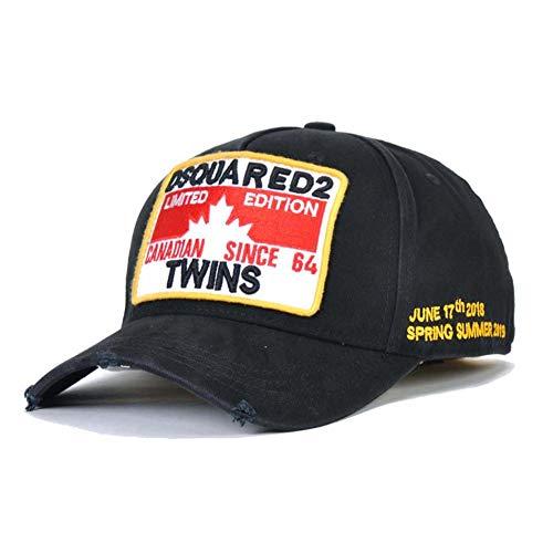 COOLGUY Baseballmützen Dsq Letters Cap Hysteresenhut Einstellbare Hip Hop Cap für Männer Frauen,Schwarz