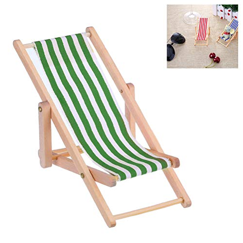 BASOYO 1:12 Miniature Foldable Wooden Beach Chair Chaise Longue Deck Chair Mini Furniture Accessories with Red/Blue Stripe for Indoor Outdoor
