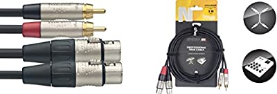Stagg 19335 3 m 2x 3 Pin Female XLR to Male RCA Twin Deluxe Audio Cable - Black