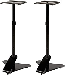 Doubleblack Supporto Casse Monitor Studio Stand Regolabile In Altezza 76-137 cm Speaker Stand Metallo Stativi Supporti Altoparlanti Pavimento Piedistallo 2 Pezzi Nero