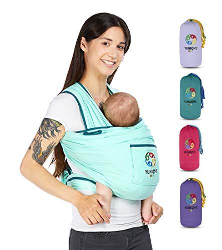 YUNIQME® Tragetuch fürs Baby NEU! - Elastisches Babytragetuch aus 100% Baumwolle - GOTS - Babysling für Neugeborene - Bauch Babytrage I Baby Zubehör - OEKO TEX  - Farbkombination Tuch Mint