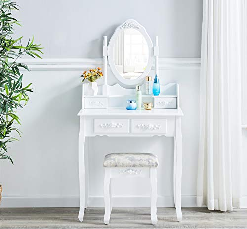 AINPECCA Dressing Table White Vanity Makeup Table with Upholstered Stool Bedroom (White, Oval Mirror 4 Drawers)