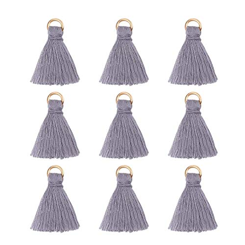 Wholesale Grey Silk Tiny Soft Tassels Charms with Golden Jump Ring Bulk for Jewelry Making and Crafts (95-100PCS)