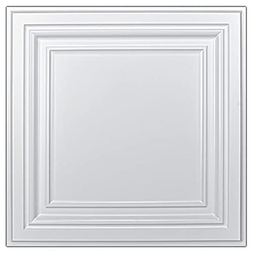 Art3d PVC Ceiling Tiles, 2'x2' Plastic Sheet in White (12-Pack)