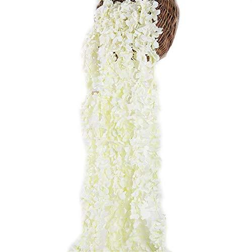 Crt Gucy 2 Pack 13 FT Artificial Hydrangea Flower Vine Wisteria Vines Cattleya Flowers Plants for Home Hotel Office Wedding Party Garden Craft Art Décor, White